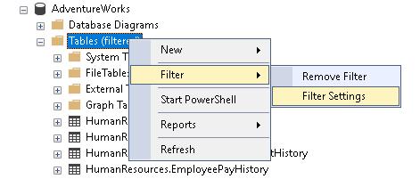 Configurações de filtro