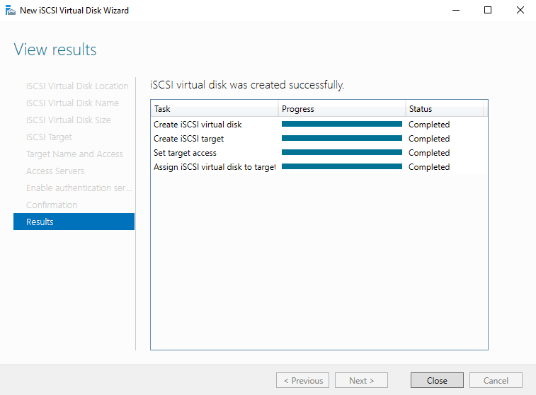 iSCSI virtual disk have been created