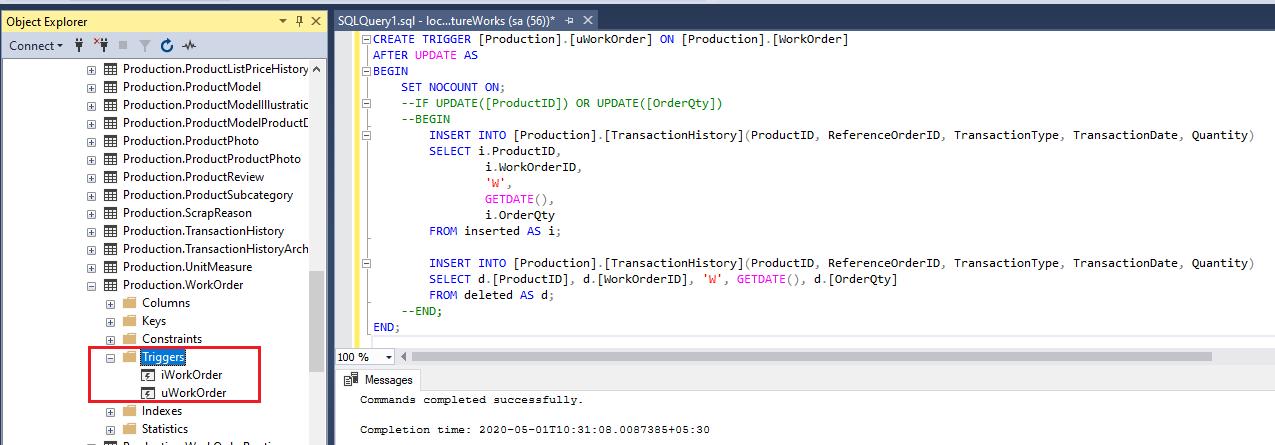 Tabelas mágicas no gatilho do SQL Server