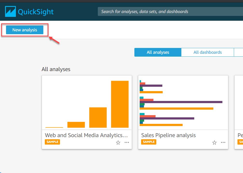 Nova análise no QuickSight