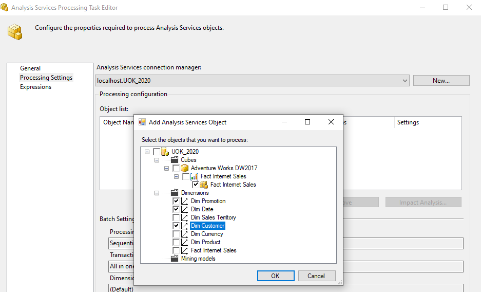Processing of SSAS Database with Cube