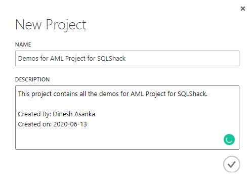 Project creation for the Azure ML Studio.