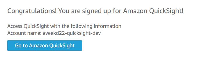 A inscrição na conta QuickSight foi bem-sucedida