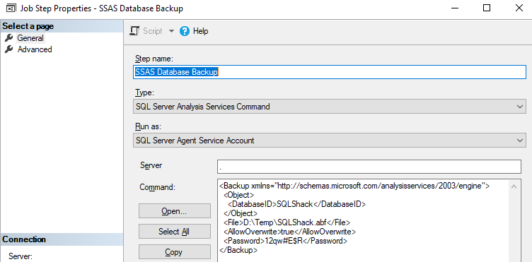 Scheduling the SSAS Database Backup in SQL Server Agent