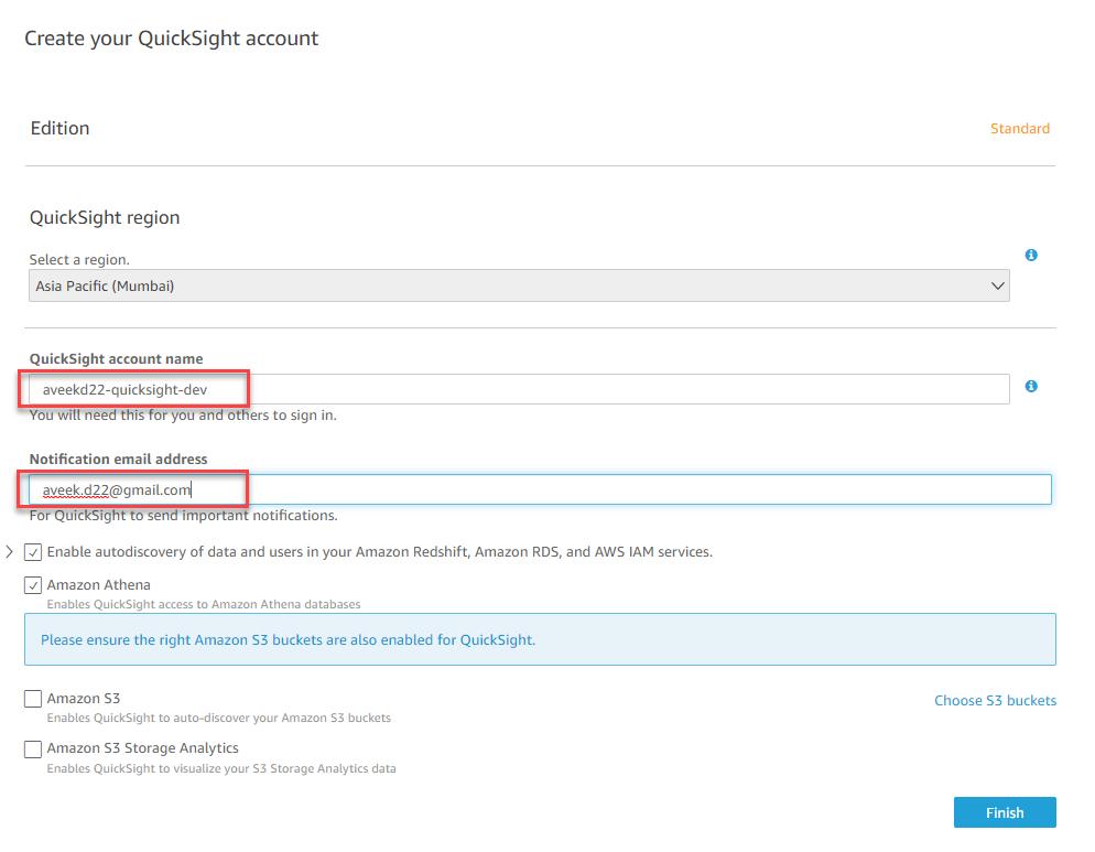Configurando a conta do QuickSight