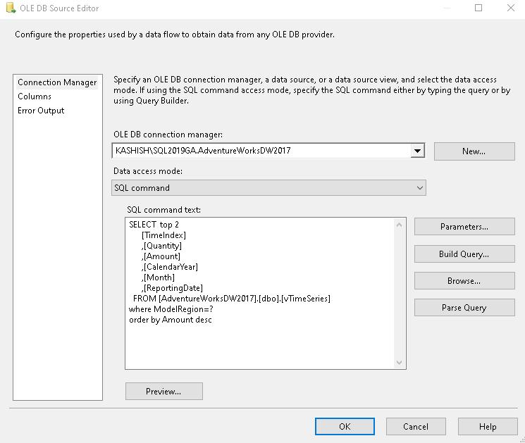 Comando Especificar SQL