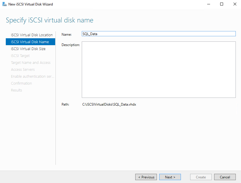 Specify the name of iscsi virtual disk