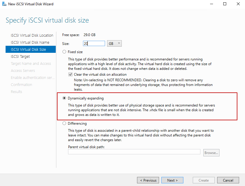 Specify the size of iscsi virtual disk