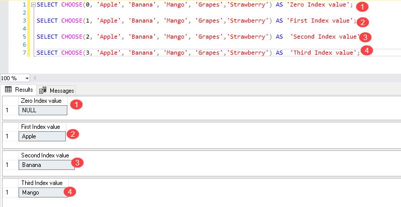 Função ESCOLHER do SQL Server com valores literais