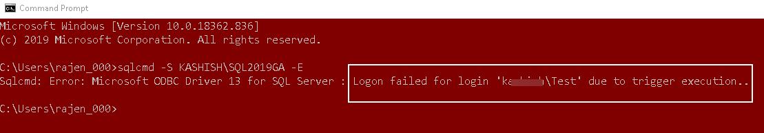 Conexões do SQL Server usando gatilhos de logon no SQL Server