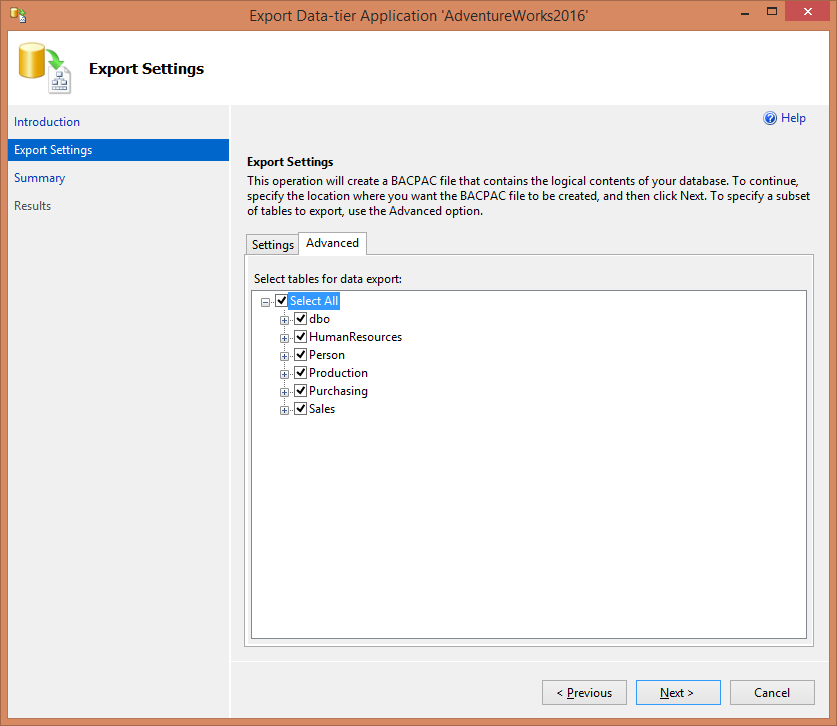 SQL Server - Export data for tier application