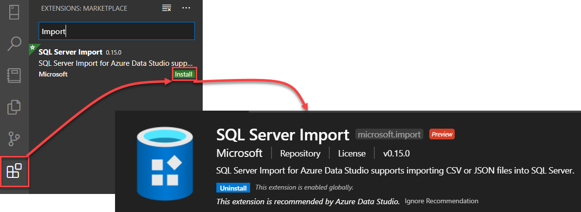 SQL Server Import extension