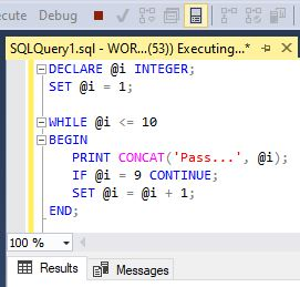 SQL Server loops - CONTINUE command inside the SQL Server WHILE loop