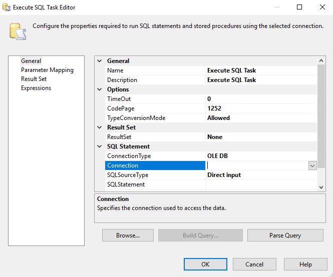 Editor de tarefas SQL