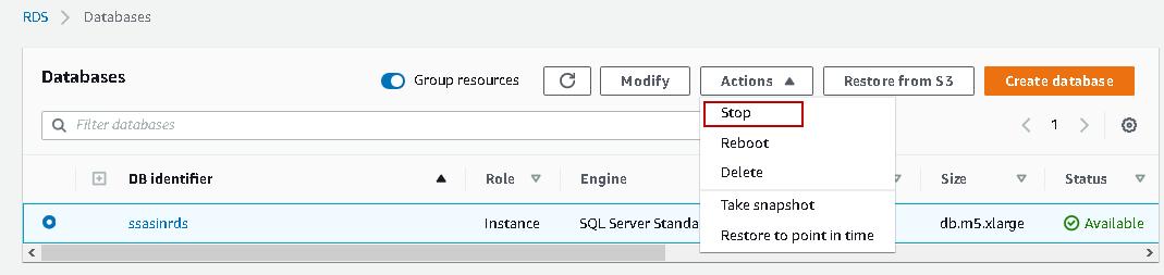 Pare o AWS RDS SQL Server