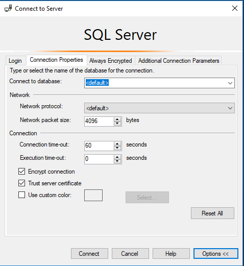 To connect AWS RDS SQL Server intance you need to enable Encrypt connection and trusted connection in the SSMS Settings