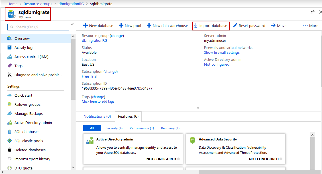 To migrate on-premises SQL Server database to Azure SQL Database, Import BACPAC into Azure SQL Database