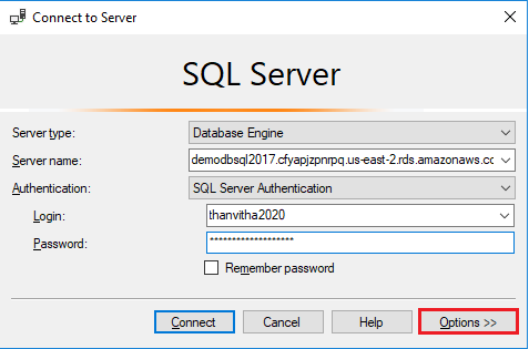 To test AWS RDS SQL Server connectivity - type in the Crendentials in SSMS connect to Server pane