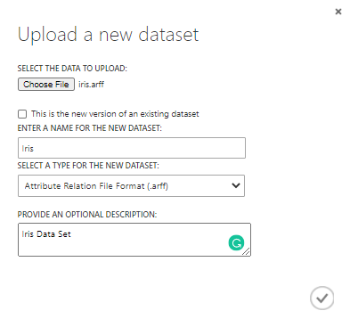 Upload a new data set