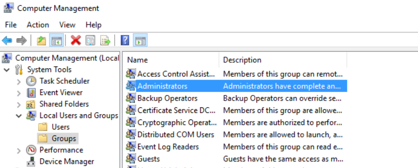 Add user in the administrator group