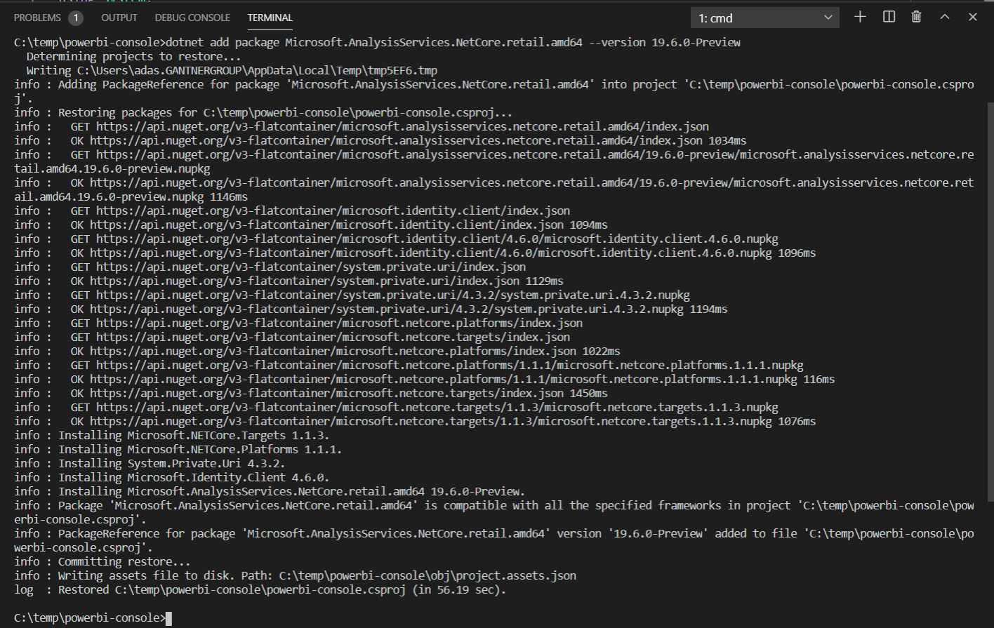 Adicionando a biblioteca do Power BI TOM ao aplicativo