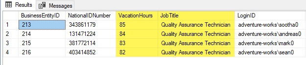 An executed SELECT statement highlighting Vacation Hours and Job Title columns in the results grid