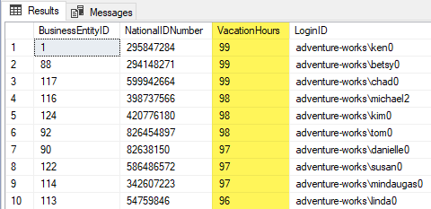 An executed SELECT statement highlighting Vacation Hours column in the results grid