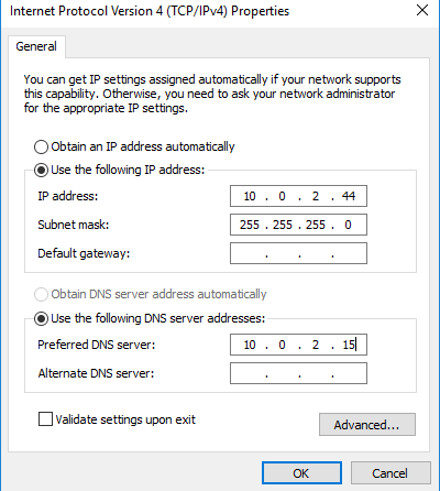 Assign static IP address