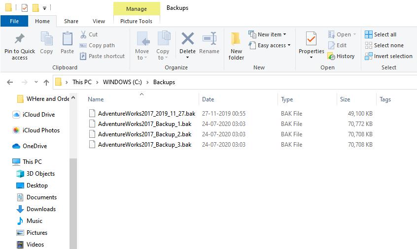 Arquivos de backup