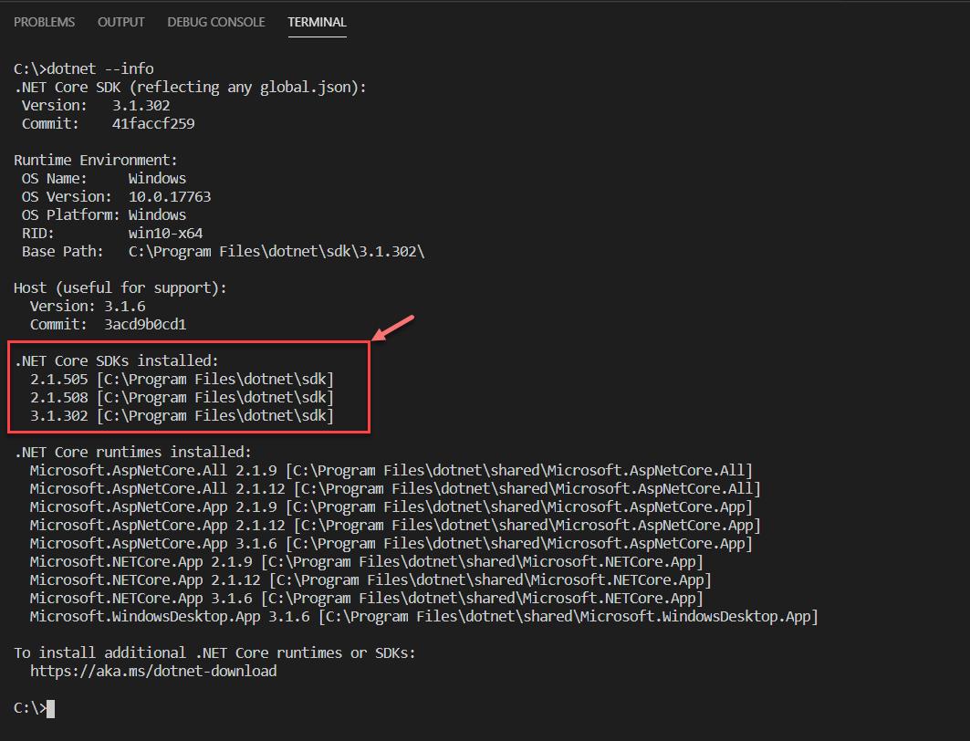 Verificando a versão do Dotnet Core SDK