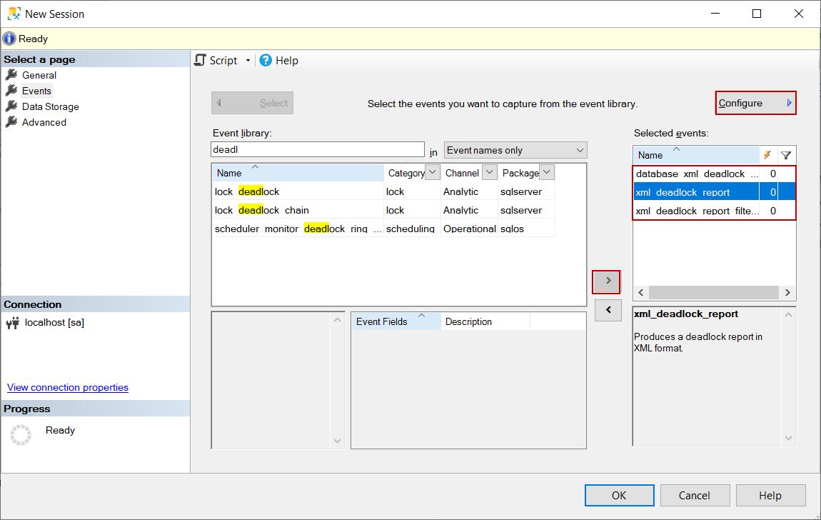 Configure extended event in SQL Server