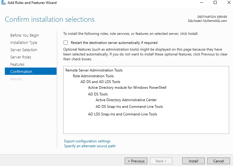 Confirm installation selections