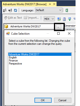 Connecting to the Perspectives using SSMS
