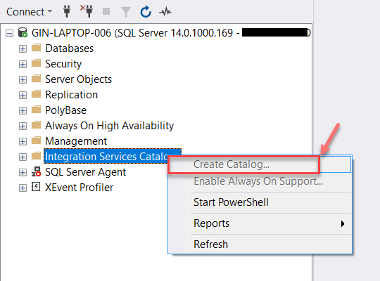 Create the Catalog Database using SQL Server Management Studio