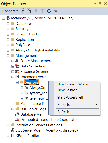 Creating an extended event in SQL Server
