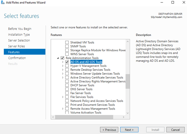 Enable AD Windows feature for the target servers