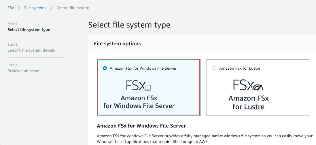 Servidor de arquivos fsx