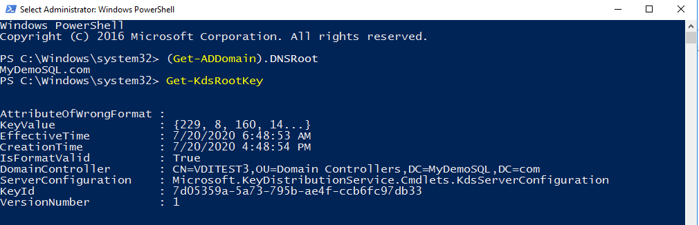Get-KdsRootKey to check KDS