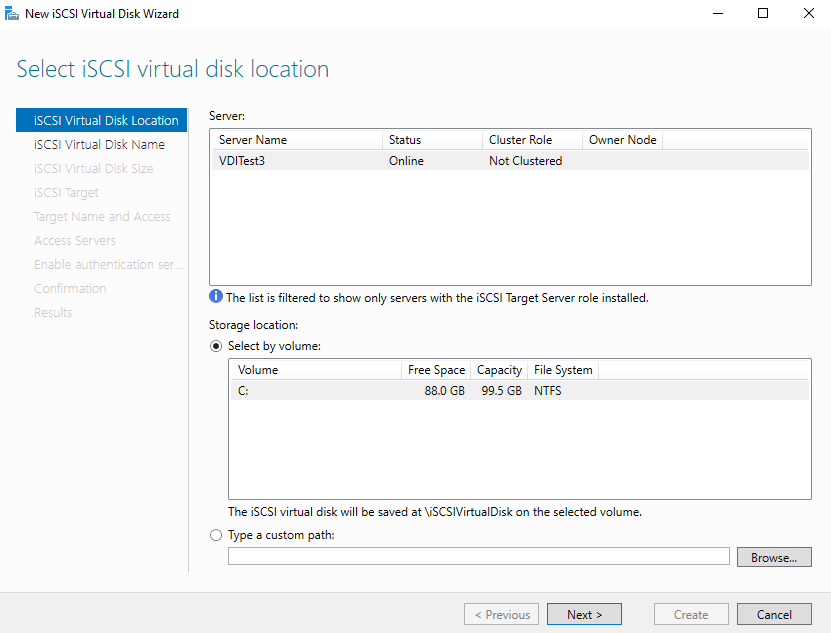 iSCSI virtual disk wizard for SQL Server Always On Availability Groups configurations