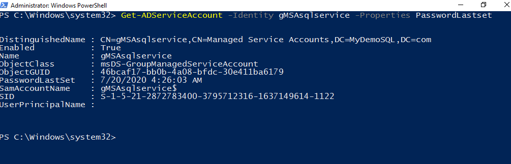 last password reset for the managed service account