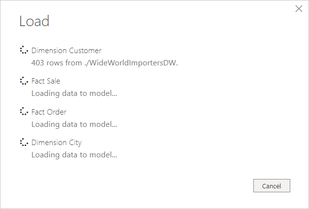 Loading data into the Power BI Data Model