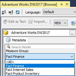 Measure Group filtering can be done using SSMS