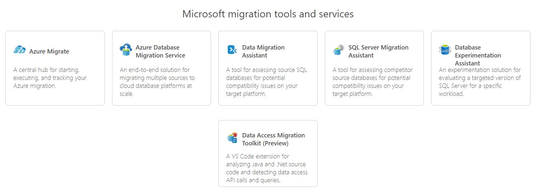 Ferramentas e serviços de migração da Microsoft