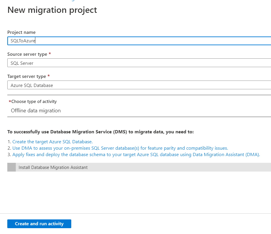 New Migration Project creation