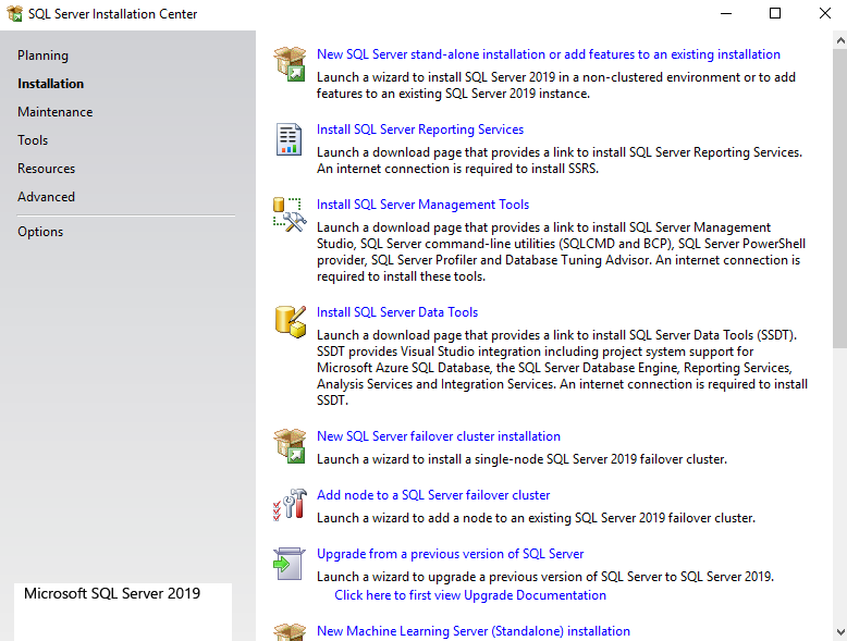 New SQL Server standalone installation.