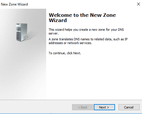 new zone wizard