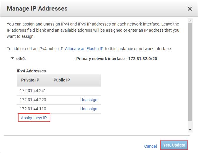 Endereços IP do nó 1