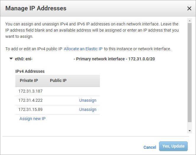 Endereços IP do nó 2