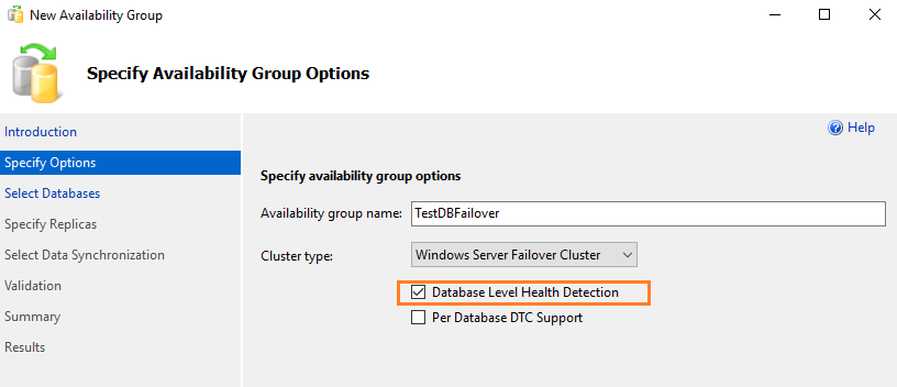 Option to enable in the new availability group wizard