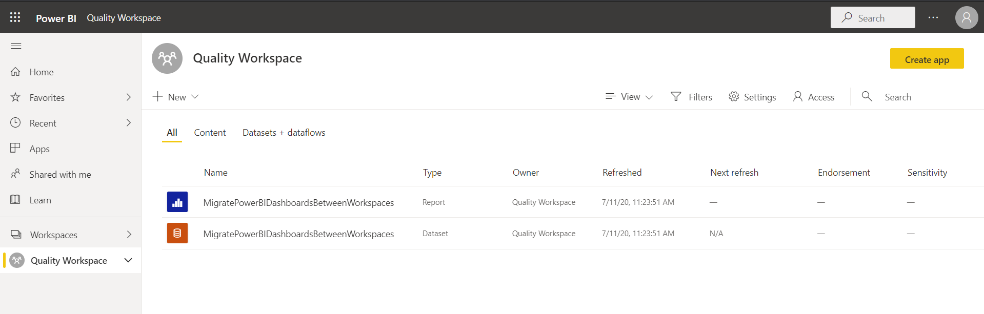 Power BI files uploaded to the new workspace